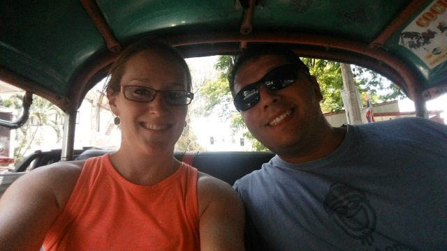 9 Helpful lessons for visiting thailand #2 - Avoid Scams: Us in the back of a tuk tuk, which are often part of scams