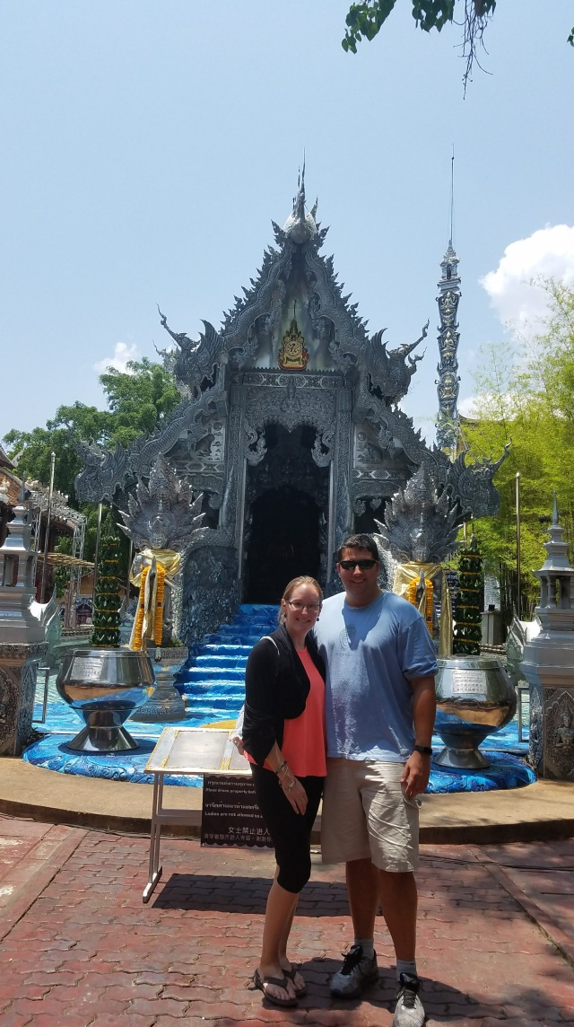 9 Helpful Lessons for Visiting Thailand #4 - Dress Smart: My husband and I in front of the silver temple, with the appropriate dress for temples.
